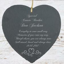Personalised Cousin Brother Memorial Remembrance Slate Plaque Heart MEM-CO1