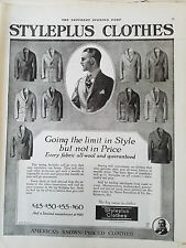 1920 Mens Styleplus Clothes Suits Jackets Coats Vintage Fashion Clothing Ad