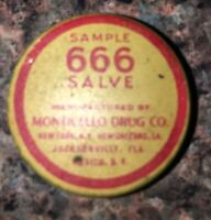 "ANTIQUE ""666 SALVE""  FREE SAMPLE TRIAL SIZE TIN by MONTICELLO DRUG COMPANY NY FL"