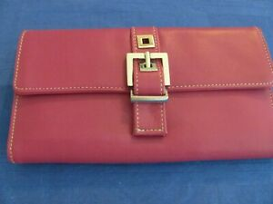 Perlina Leather Clutch Purse Wallet - Unused - with Price Tag Inside - Fuschia