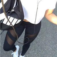Damen Jogginghose Laufhose Push-up Fitnesshose Legging Yoga Sport Mesh Leggins