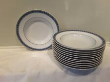 A Beautiful Set of 12 Raynaud Limoges Biarritz Rimmed Soup Bowls