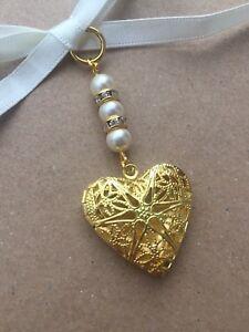 Gold Filigree Heart Bridal Bouquet Photo Locket Memory Charm Swarovski Beads