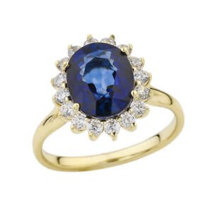Solid 10k 14k Yellow Gold Princess Diana Engagement Ring With Sapphire Diamond