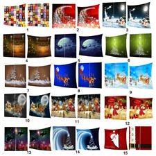 Christmas Themed Fleece Blanket & Window Curtain Combo for Xmas Decoration Gift