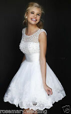 New fashion White Lace Mini Wedding Dress Bridal Gown Stock  Size  8 10 14 16 18