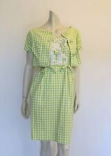 Vintage 1960s Dress - Green Gingham Beaded Sundress and Jacket