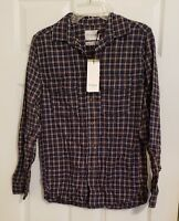 Men's Goodfellow Standard Fit Plaid Casual Shirt Double Pocket Button Down Small