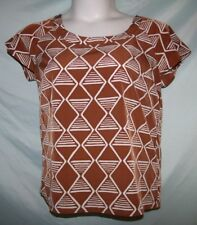 Old Navy Brown White Geometric Short Sleeve Polyester Blouse Sz M
