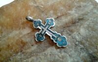 """ANTIQUE c.19th CENTURY IMPERIAL RUSSIAN SILVER """"84"""" SMALL ORTHODOX """"SKULL"""" CROSS"""