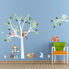 Jungle Animal Monkey Owl Rabbit Tree Wall Decals Stickers decor Kids Baby Art