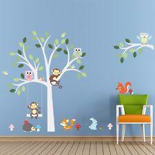 Jungle Animal Monkey Owl Rabbit Tree Wall Decals Stickers Decor Kids Baby Art