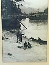 Antique Otto Dinger Etching River Scene w/ Sportsmen Ink Signed in Frame
