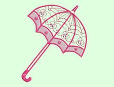 Dentelle rose parapluies - 20 Machine Embroidery Designs