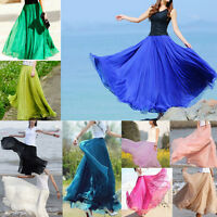 Womens Ladies Bohemia Chiffon Pleated Dress Long Maxi Elastic Waist Skirt New
