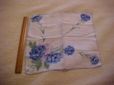 Vintage Hanky w/ Blue Carnations 75451