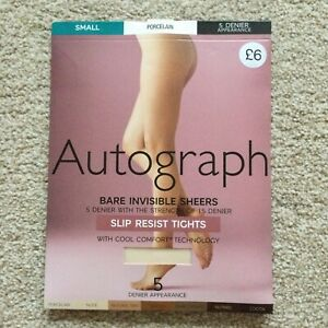 M&S Size SMALL Autograph Bare Invisible Sheers Tights PORCELAIN Slip Resist S