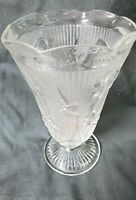 Vintage Jeanette Clear Depression Glass Vase - Iris & Herringbone - Footed 9""