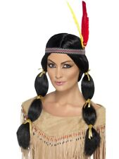 Pocahontas Indian Wig Black Squaw Fancy Dress + Feather Headband New