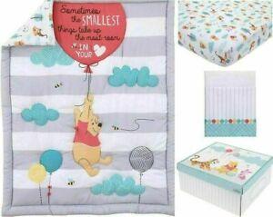 Disney Winnie the Pooh Baby Cot Set Quilt Sheet Valance Pooh Bear *NEW*