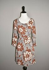 BODEN $85 Brown Floral Print Light Weight Tunic Dress 3/4 Sleeve Size 4