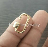 14k Yellow Gold 20x10mm Designer Carabiner Lock Bracelet Pendant Necklace Lock