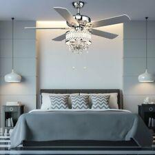 "52"" Crystal Ceiling Fan Lamp w- 5 Reversible Blades"