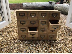 Rustic Wooden 16 Drawers Storage Chest Trinket Box Geko New Desktop Jewellery