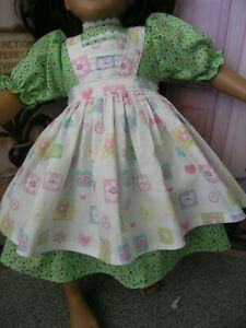 "Green Dress Flower Cat Print Apron 2 piece Dress 23"" Doll clothes fits My Twinn"