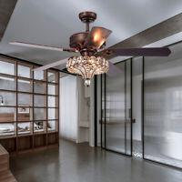 "52"" Antique LED Brown Crystal Ceiling Fan Lamp Chandelier Pendant Light+Remote"