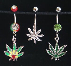 Cannabis Marijuana Leaf Weed Dope Gem BELLY NAVEL Body Piercing Jewelry Bar Ring