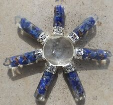 Quartz pyramid with 7 orgone lapis lazuli crystal points ~ energy generator