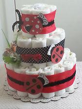 3 Tier Diaper Cake Ladybug Red & Black Baby Shower Gift Centerpiece