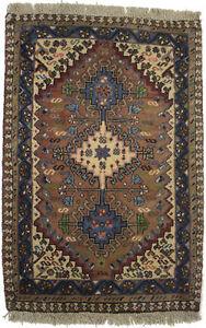 Tribal Geometric Style Vintage 2X3 Rusty Brown Oriental Rug Handmade Wool Carpet