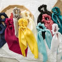 KQ_ AB_ AU_ Bow Satin Long Ribbon Ponytail Scarf Hair Band Tie Scrunchies Elasti