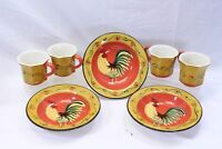 Casa Vero Rooster Rim Soup Bowls and Cups Lot of 7
