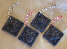 4 Blackened Beeswax Christmas Ornaments Folk Art Set Snowman Angel Cabin Tree