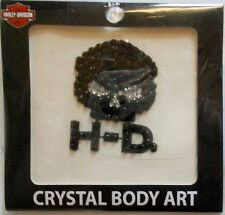 Harley-Davidson Black And Silver Temp Crystal Body Art TT102930 New