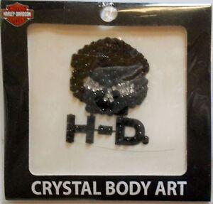 Harley-Davidson Black And Silver Temp Crystal Body Art TT102930 New