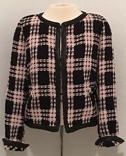 Weill Vintage Size 12 Tweed Jacket Blazer Pink Black Fully Lined