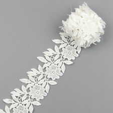 2 Yards White Fabric Applique Venise Lace Trims Bridal Dress DIY Sewing Crafts