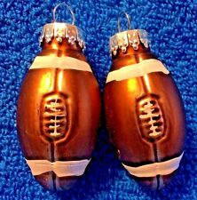 HOLIDAY LODGE: 2 PC GLASS FOOTBALL CHRISTMAS ORNAMENTS - NEW