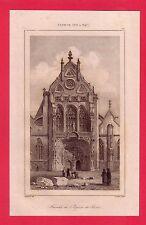 Façade de l'église de Brou dans l' Ain  GRAVURE 1845  FRANCE XVI