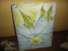 VINTAGE CANNON ROYAL FAMILY RETRO BLUE FLORAL FULL FLAT SHEET 81 X 94