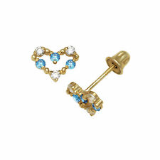 14k Yellow Gold Open Heart Screw-back Stud Earrings