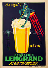 FROG DRINKING BEER, French Vintage Beer Advertising Giclee Canvas Print 20x28