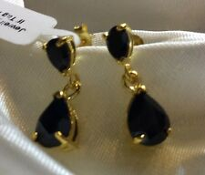 5 Ct, Boi Ploi, Black Spinel Earrings, 14K Gold On Sterling Silver, Dangle