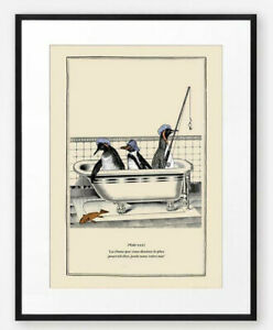 Funny Vintage Surreal Penguin Print Bathroom Wall Art Old Illustration Bathtub