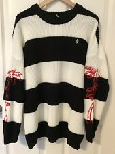 Obey • Woman's Black & Off White Knit Sweater Sz L Red Embroidery On Sleeves NWT