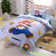 Cartoon Cotton Bedding Super Mario Bro. Running Mario Duvet Cover Set US Shipped
